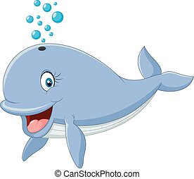 Cartoon blue whale isolated - Vector illustration of Cartoon...