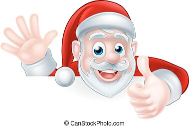 Santa Thumbs up - An illustration of a cartoon Santa claus...