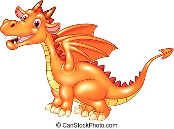 Dragon sitting with a happy face - Vector illustration of...