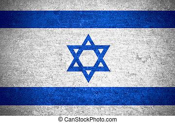 Israel flag - flag of Israel or Israeli banner on old metal...