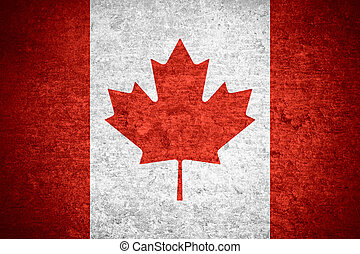 flag of Canada or Canadian banner on old metal texture...