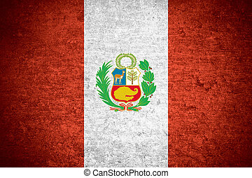 flag of Peru or Peruvian banner on old metal texture...