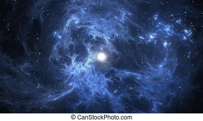 Traveling to the blue nebula with supernova