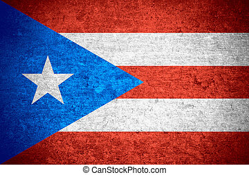 flag of Puerto Rico or Puerto Rican banner on old metal...