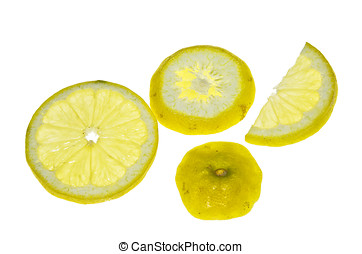 Lemon Slices - Lemon slices placed on a lightbox, isolated...