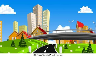 Vector cartoon city and highway with cars