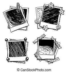 Vintage doodle photo frames. Drawing photoframe, sketch...