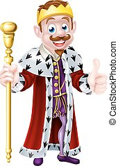 Cartoon King - Cute king mascot illustration holding a...