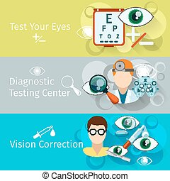Oculist and optometry horizontal banners Ophthalmology...