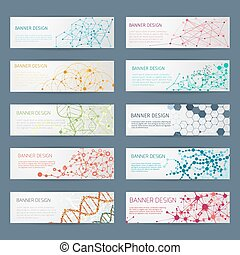 Abstract geometric DNA vector banners. Science poster...