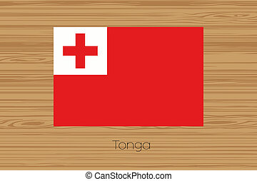 Illustration of a wooden floor with the flag of Tonga - An...