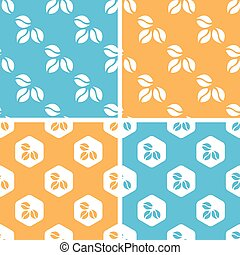Coffee beans pattern set, colored - Coffee beans pattern...