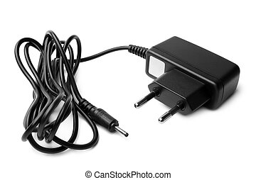 Charger with cable on white background
