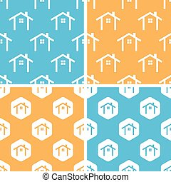 Cottage pattern set, colored - Cottage pattern set, simple...