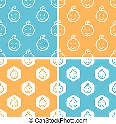 Child face pattern set, colored