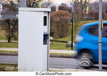 radar box - speed ??control - a box on a road with a radar...