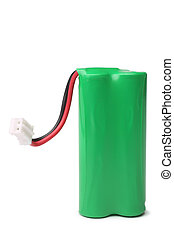 Rechargeable battery on white background