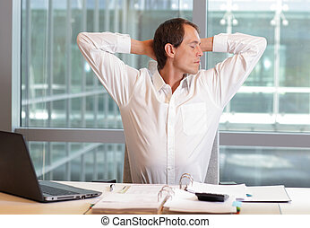business man streching arms - white collar worker male...