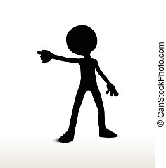 draw a weapon - 3d man silhouette, isolated on white...