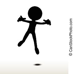 flier - 3d man silhouette, isolated on white background, fly...