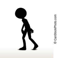 depressed - 3d man silhouette, isolated on white background,...