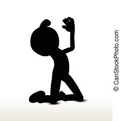 begging - 3d man silhouette, isolated on white background,...