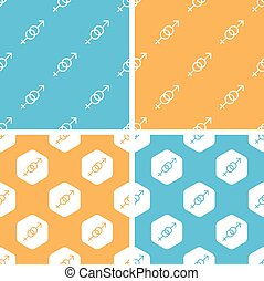 Gender signs pattern set, colored - Gender signs pattern...