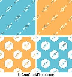 Gender signs pattern set, colored - Gender signs pattern...