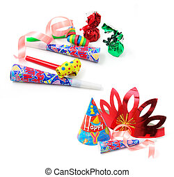 Party Favors on Isolated White Background