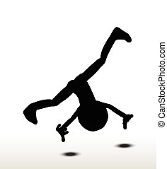 cartwheel - 3d man silhouette, isolated on white background,...