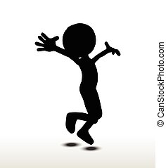 Jumping - 3d man silhouette, isolated on white background,...