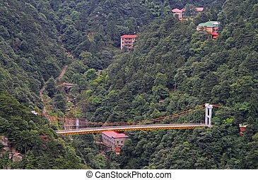 Suspension bridge in national park of mountain Lu, China