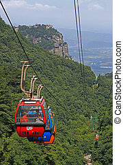 cableway in national park of mountain Lu, China