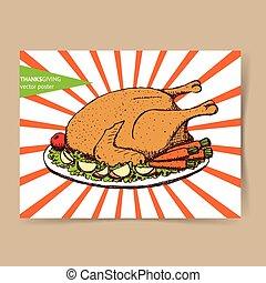 Sketch roasted turkey