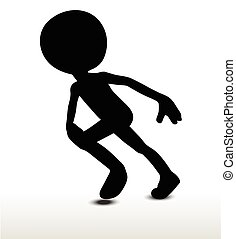 Running - 3d man silhouette, isolated on white background,...