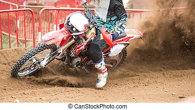 Motocross - Close up of an enduro bike in an international...