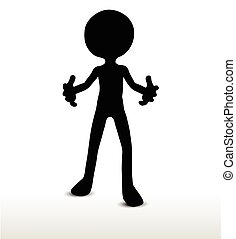 Pleading - 3d man silhouette, isolated on white background,...