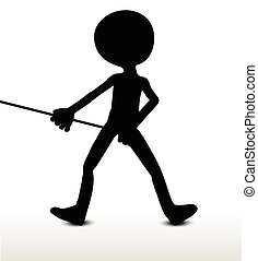 Pull It - 3d man silhouette, isolated on white background,...