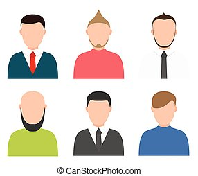 Vector modern people profile silhouettes set on white...