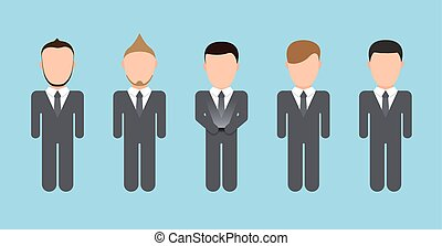 Vector modern people silhouettes set on blue background
