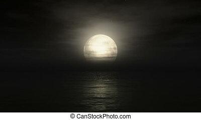 Big moon in ocean