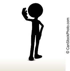leaning - 3d man silhouette, isolated on white background,...