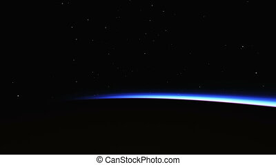 Planet sunrise views in space