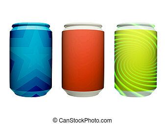 Cans - Three cans of colors, green, orange and blue on a...