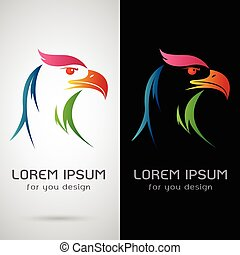 Vector image of a eagle design on white background and black...