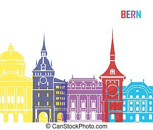 Bern skyline pop in editable vector file