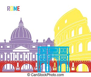 Rome skyline pop in editable vector file