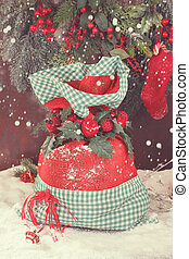 Santa Sack - Christmas presents in Santa sack at vintage...