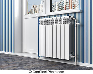 White radiator with thermostat