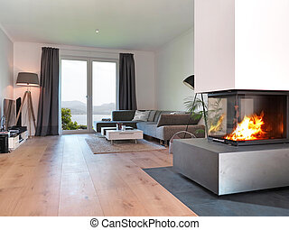 modern living room with a view to the coast - modern living...
